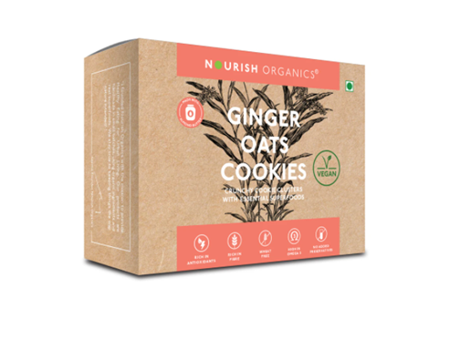 Nourish Organics Ginger Oats Cookies - 140 g box