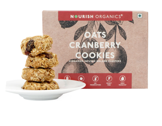 Nourish Organics Oats Cranberry Cookies - 150 g box