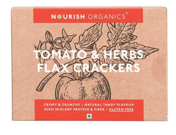 Nourish Organics Tomato & Herbs Flax Crackers - 90 g Box