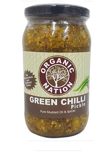 Organic Nation Green Chilli Pickle  400 g Bottle