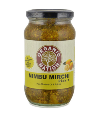 Organic Nation Nimbu Mirchi Pickle  400 g Bottle