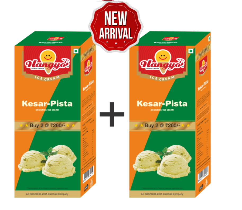 Hangyo Kesar Pista Ice Cream (Judwa Pack)  700 ml Box