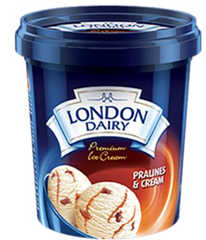 London Dairy Pralines and Cream Ice Cream 125 ml Cup