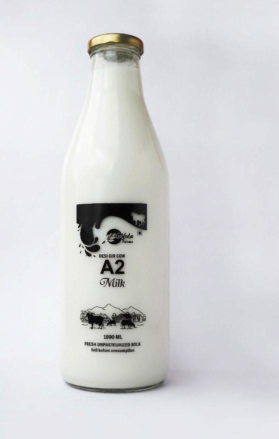 Desi Gir Cow A2 Milk - 1 Litre (Rs 20 additional as deposit for bottles not returned )