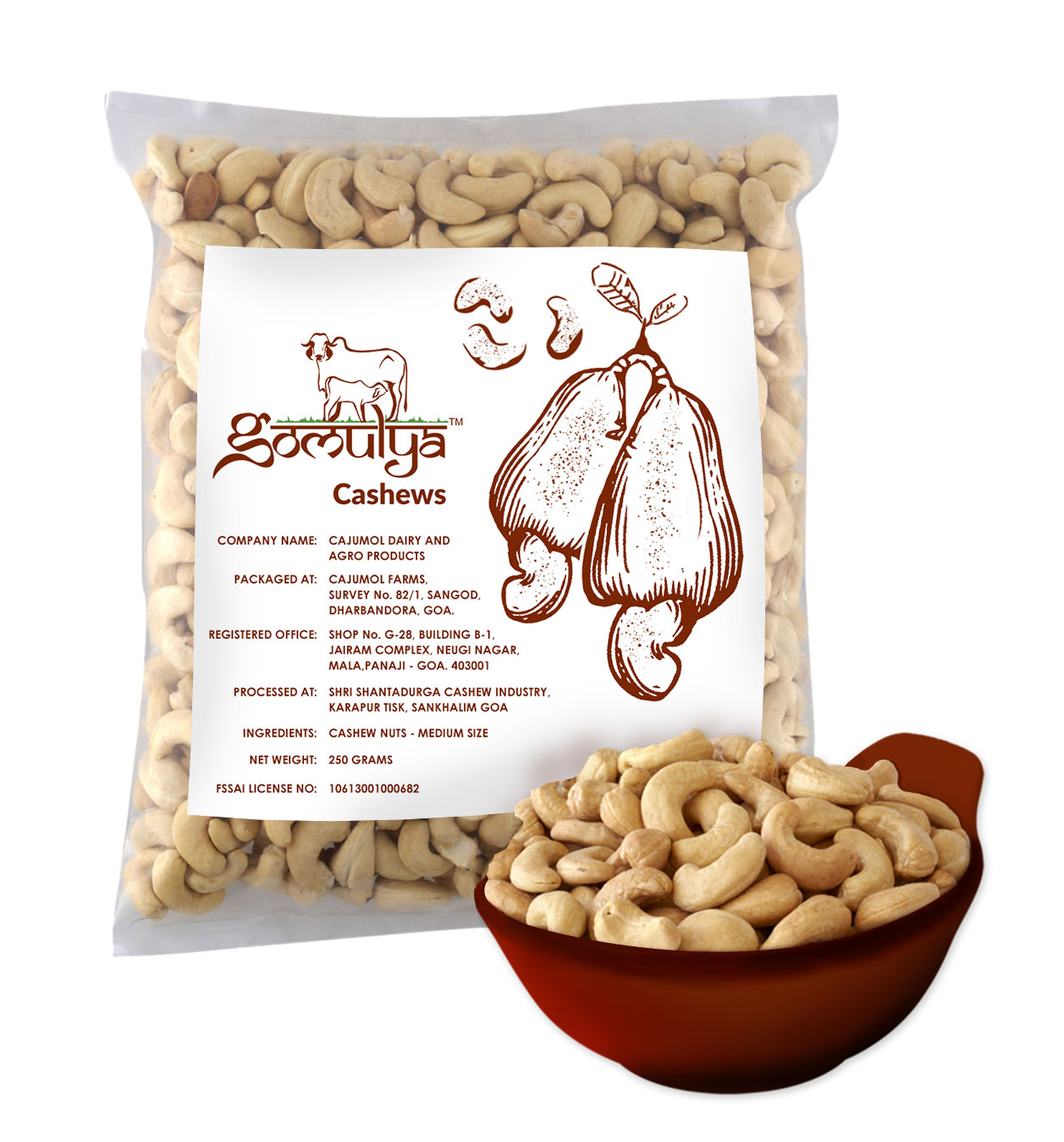 Gomulya  Cashew Nuts – Medium size – 250 gms
