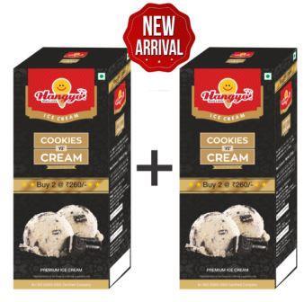 Hangyo Cookies 'n' Cream Ice Cream (Judwa Pack)  700 ml Box