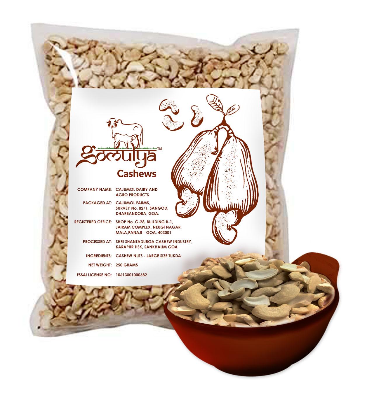 Gomulya Cashew Nuts – Large size tukda – 250 gms